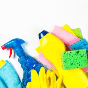 Descarte de embalagens e itens de limpeza